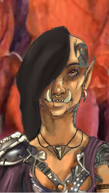 Tribalism and Tattooing is a heritage for most Orcs.  Skabs revere the old ways, Suits reject them.