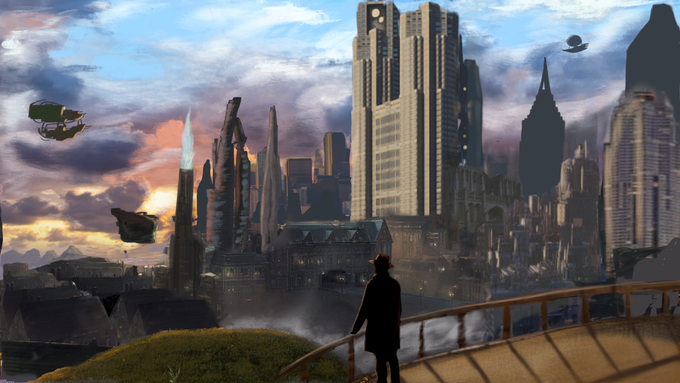 Albion, capital city on Avalon.  Towering spires, air filled with ships, damage from the war...etc, you get the picture.
