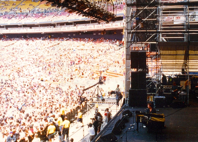 Performing at a benefit concert at RFK Stadium in Washington DC with many other artists.
