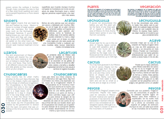 Educational breakdown of the parks plants & animals, many of which are endemic