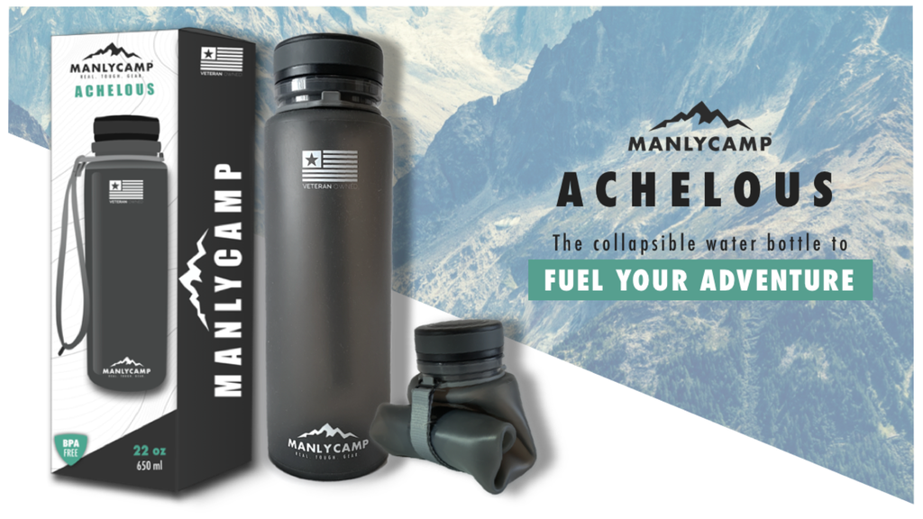 ManlyCamp Achelous: Collapsible Water Bottle for Adventure