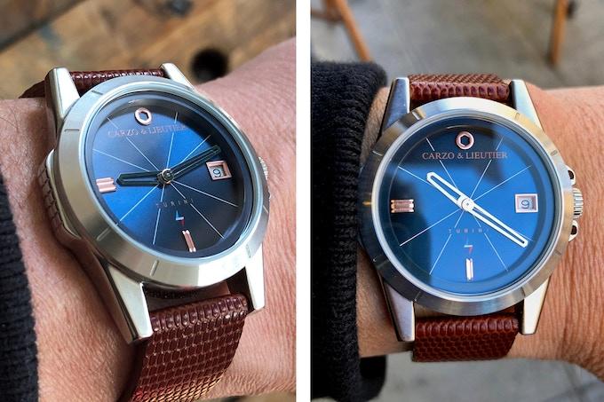 M. Lieutier porte la Turini Blue Workwear & Steel sur un poignet dont la circonférence est de 17CM.