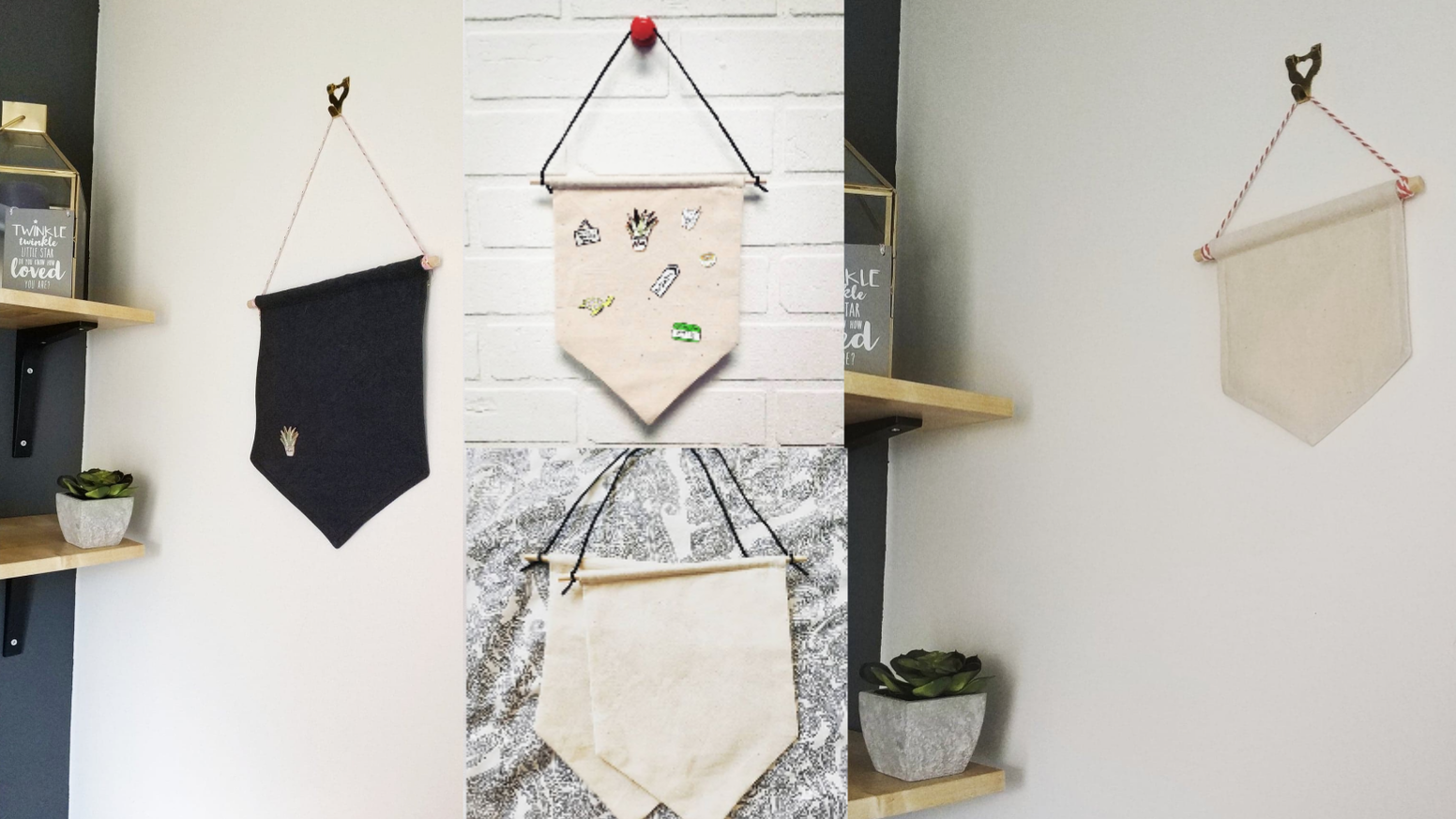 Enamel pin storage display banner pennant flag and bag by