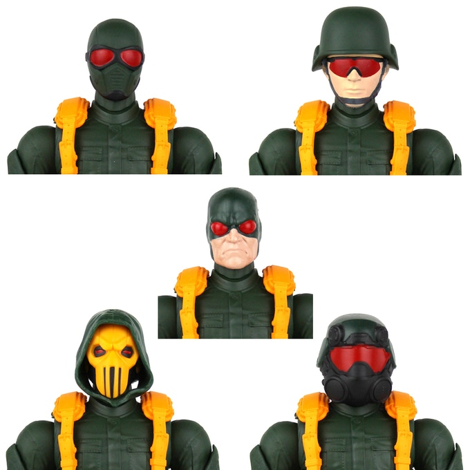 Various Legends heads on the Serpent Trooper body