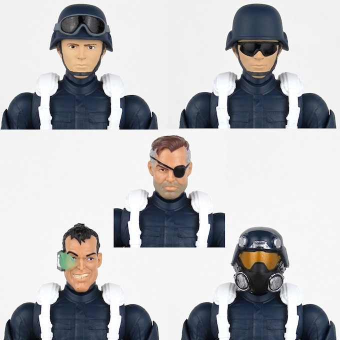 Various Legends heads on the Space Trooper body