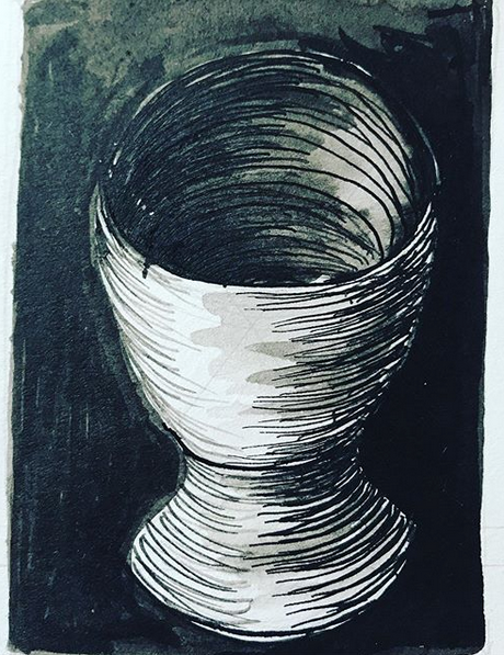 The Chalice, 2019. (Original Pen & Ink design for Commonplace Card.)
