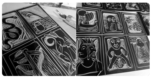 Linocut testing of the first Commonplace cards