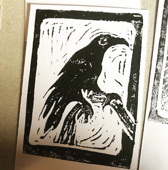 The Crow, 2019. Test print for Commonplace Deck