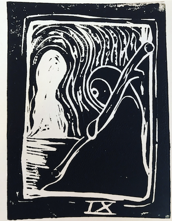 The Hermit, 2019. Linocut on paper. Image for a future Tarot project.