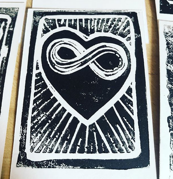 The Heart of Infinity, 2019. Linocut.