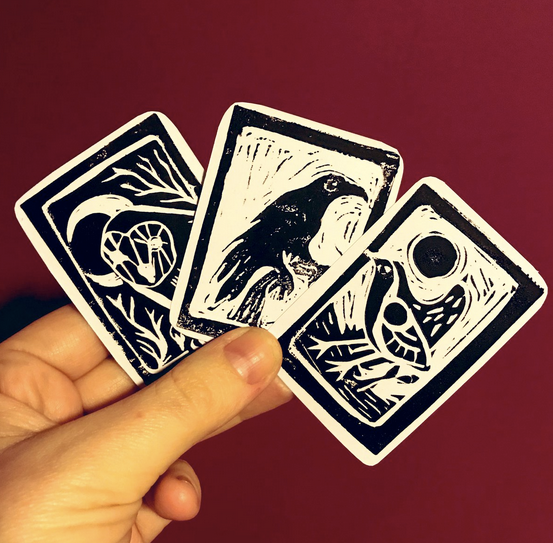 Three prototype cards featuring the Owl, Crow and Wren. Each card will be approximately 4.5cm (w) x 6.5cm (h)