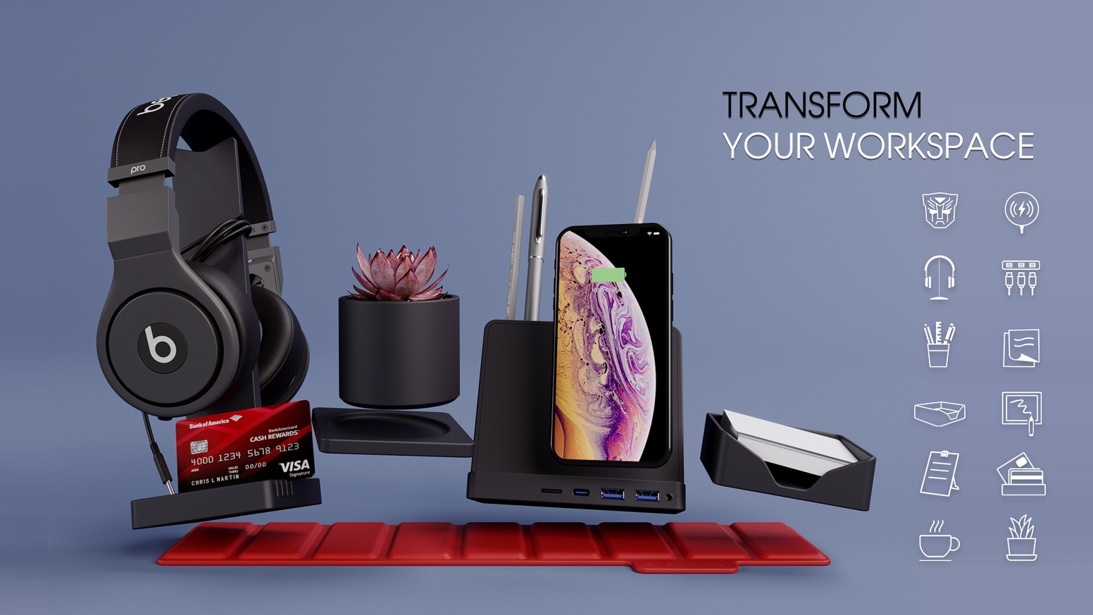 STEALTHO Office Storage Accessory includes- Pen & Phone & Post-it & Copy holder, Writing board, Headphone & Sticky notes stand, Coaster