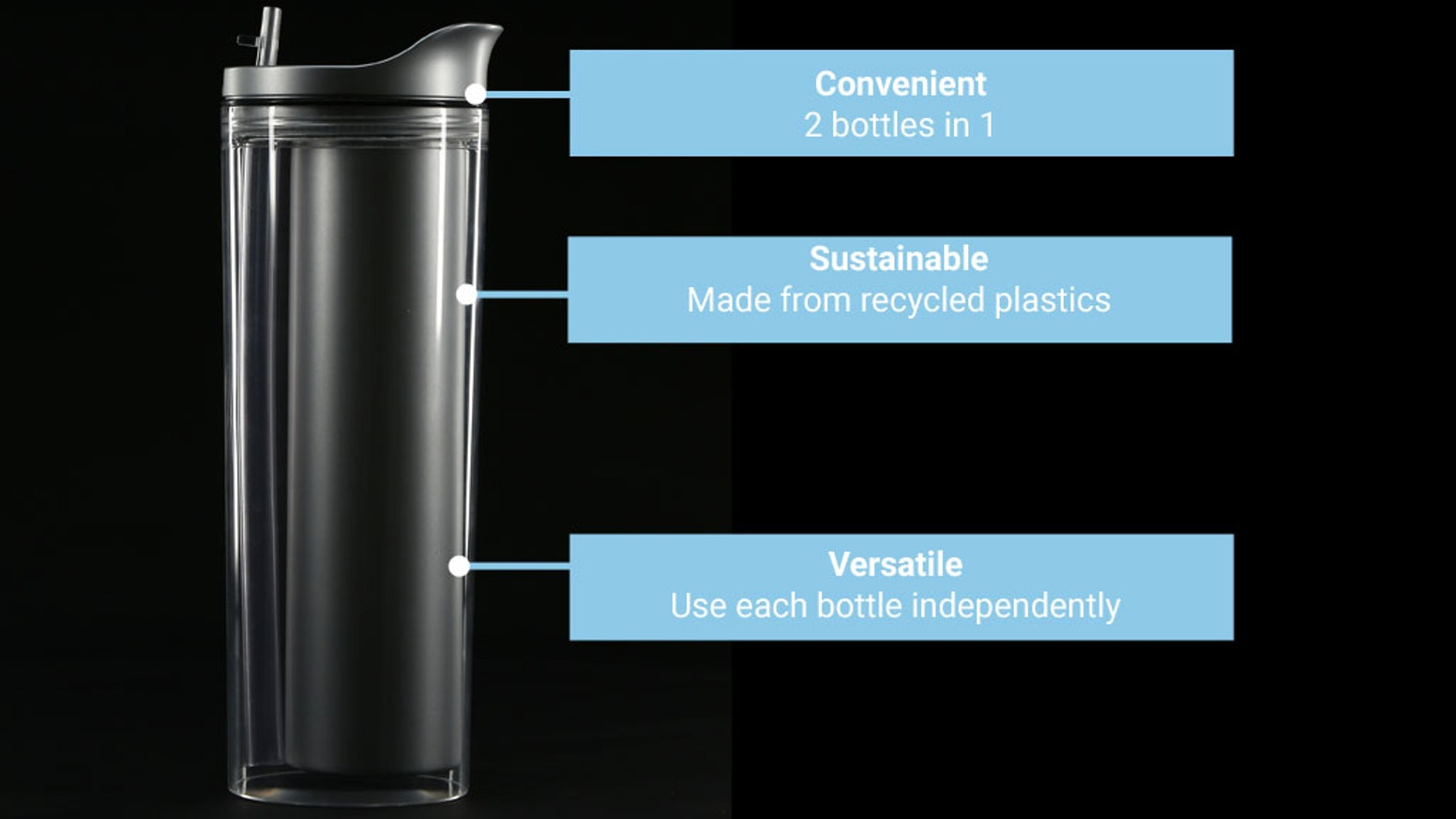 Carry hot & cold liquids simultaneously and drink both from the same lid. Made from recycled plastic and double walled stainless steel.
