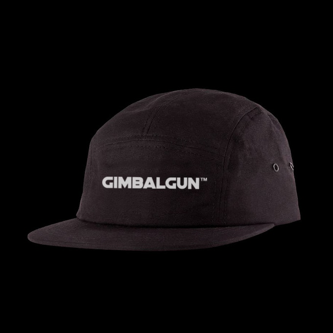 Recieve a Limited Edition GimbalGun™ Hat, custom Made in the USA, Organic Duck Cotton, 5-panel camper hat with embroidered logo and nylon strap closure.