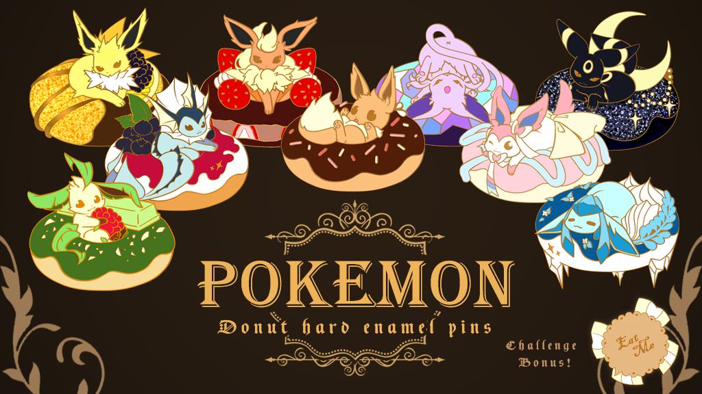 Pokemon Eevee Donut Enamel Pins