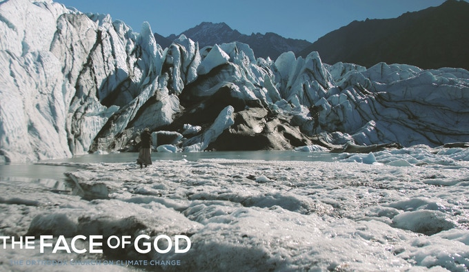 Still photo from film: visiting the Matanuska Glacier, Alaska. The film visited this glacier to witness first-hand recent dramatic changes in glaciological activity and in the arctic.