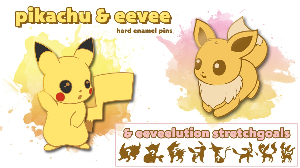 POKEMON Pikachu, Eevee & eeveelution Hard Enamel Pins