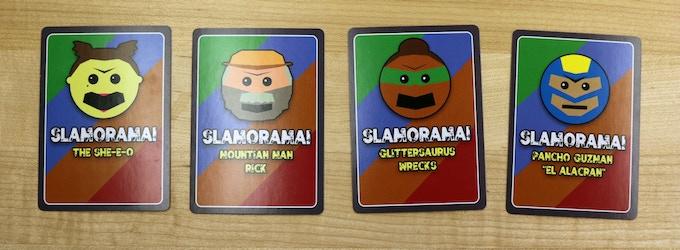 "Card backs for the She-E-O, Mountain Man Rick, Glittersaurus Wrecks and Pancho Guzman ""El Alacran"""