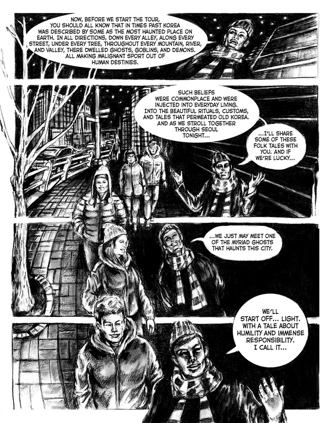 This second page leads into the opening of the first portmanteau tale in the comic.