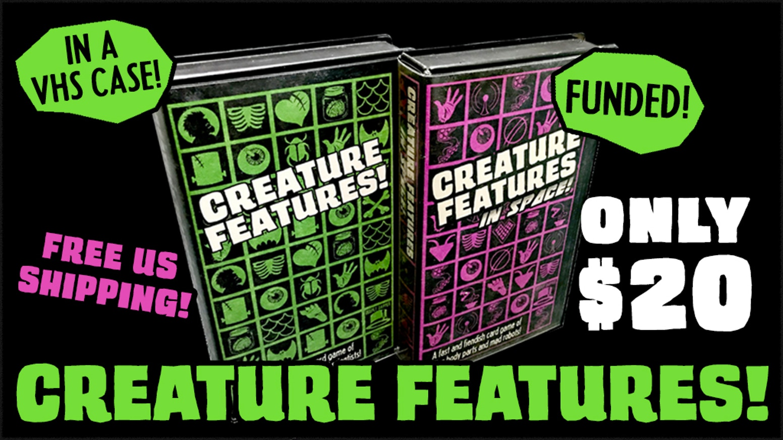 A fast and fiendish card game of monsters, aliens, stolen body parts and mad scientists!