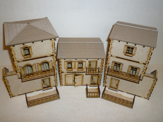 Three-story House, Two-story House, Bakery with Balconies - Add-On in front.