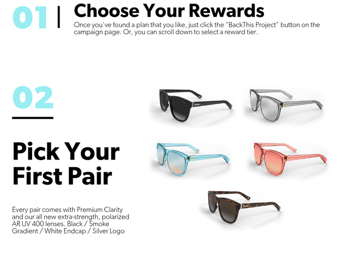 Once you've chosen the Shades Plan that best meets your needs, start thinking about with pair of the insanely nice shades you choose. We will reach out following the campaign to make sure we set aside you next delivery.