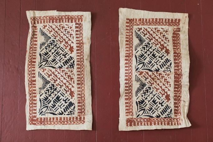 "Tapa handmade on Manono by Peteli and Punipuao Utumapu. Each piece measures about 14x25""."