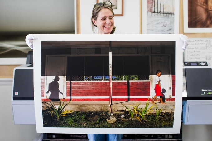 Marcy with the 24x36 print. You can have a print made using any photo you'd like from the Samoa, Vanuatu, or Tonga projects.