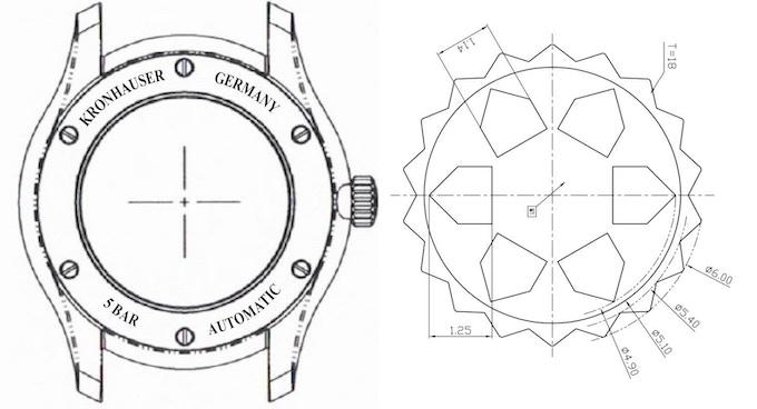 links: Zeichnung der Gehäuserückseite mit 6-fach verschraubtem Glassichtboden, rechts: Zeichnung der Krone