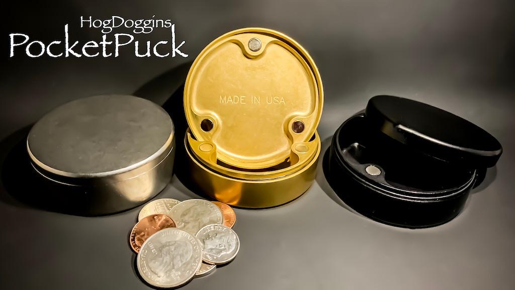 PocketPuck Magnetic EDC Storage Box Titanium/Brass/Aluminum project video thumbnail