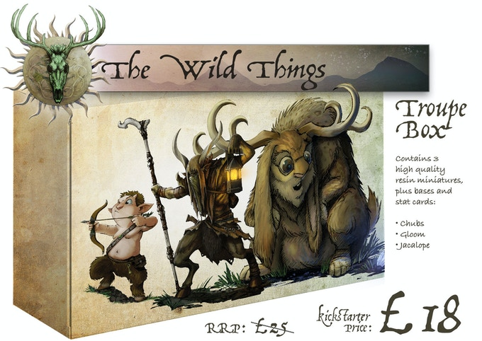 The Wild Things Troupe Box contains: Chubs, Gloom and The Jacalope