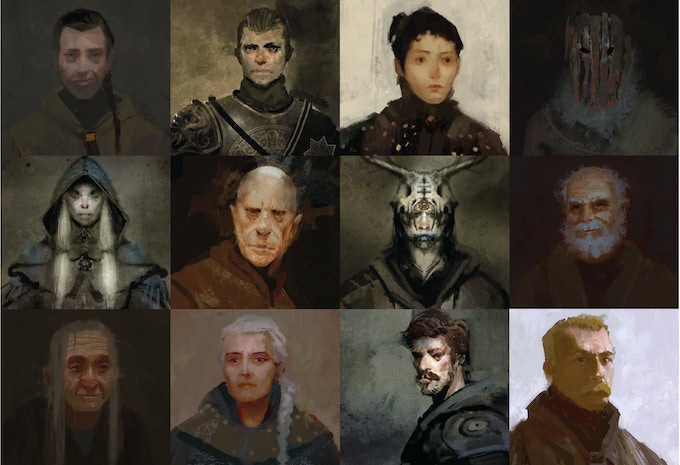Portraits (work-in-progress) of some of the cast featured in Mother of Darkness