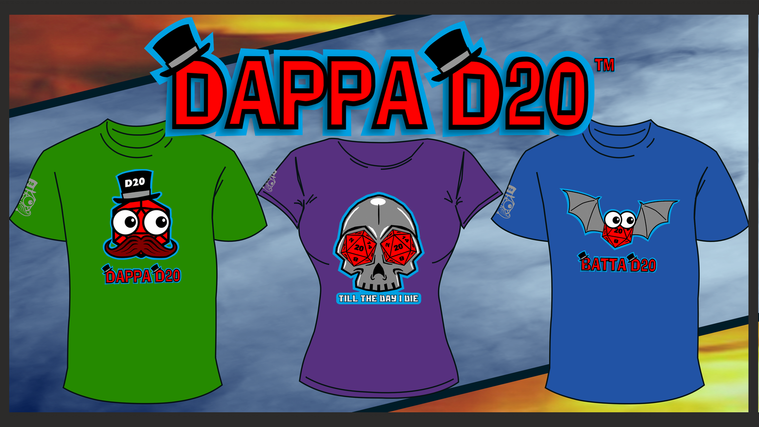Dappa clothing for seasoned Gamer's. Showcase your passion for tabletop gaming and RPG for everyone to see. Bring on the dice!