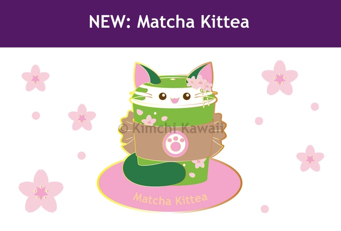 "1.5"" enamel pin featuring Matcha Kittea"