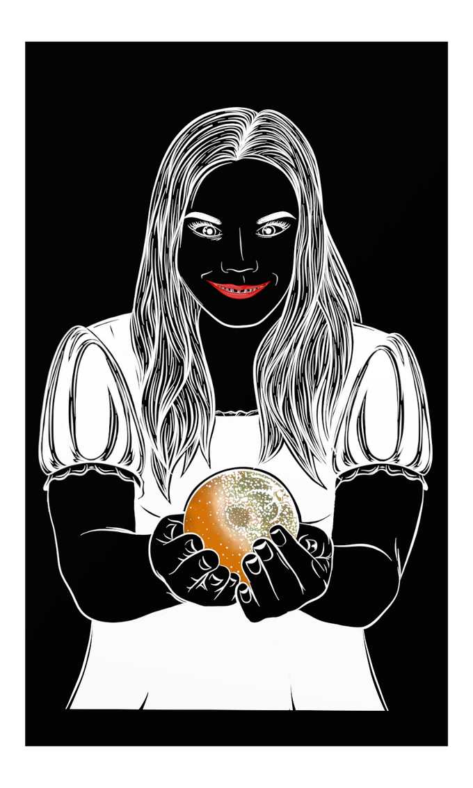 """The High Priestess, inspired by Milos Bogetic's """"The Story of Her Holding an Orange."""" Artist - Desdymona Howard"""