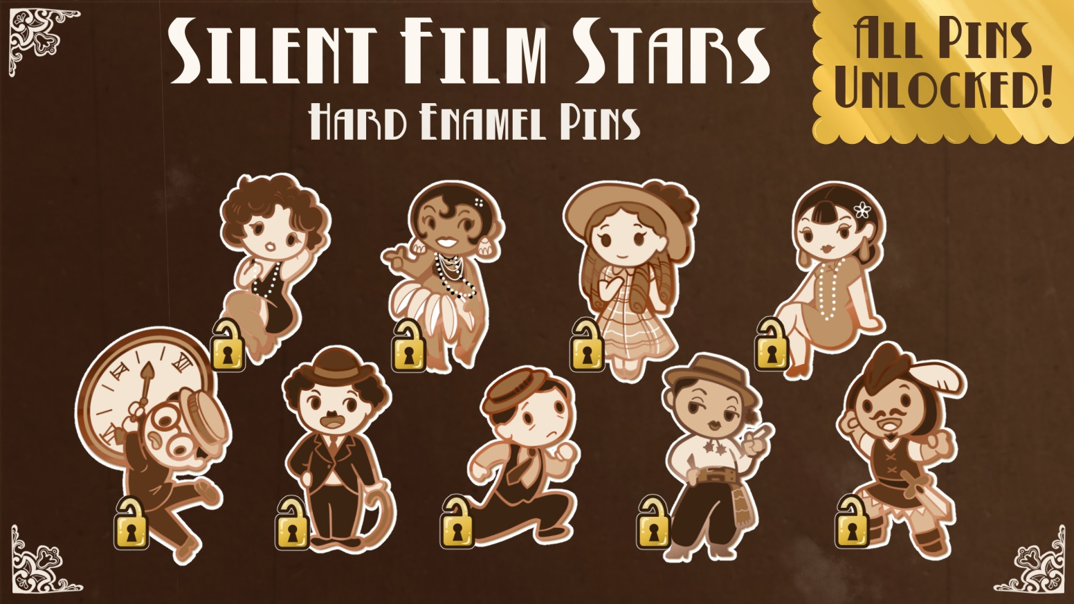 A set of hard enamel pins featuring silent movie actors of the 1920s. All nine pin designs have been unlocked!