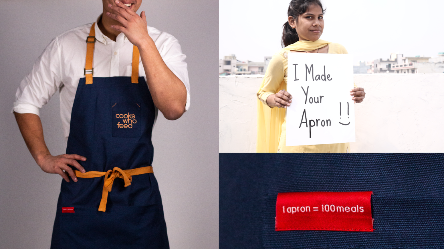 We produce handcrafted aprons to feed those in need and prevent food from going to waste. We work with charities that share our vision.