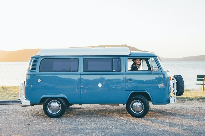 This is me in my dream van! I spotted it parked in Manly and instantly fell in love. I got in touch with the owners to hire it to film the intro and ending of my video clip. Only one week out from the mechanics and spray shop and this thing of beauty was born for a video shoot. Funny how things work out!