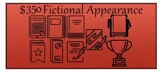 The Fictional Appearance reward includes the Collector's Set reward, your name in the acknowledgements section of Ghosts Be Gone, and the appearance of yourself or someone else as a fictional character in the next book in the Ghosts Be Gone series (or you create a completely fictional character with me for the novel, if you so desire).