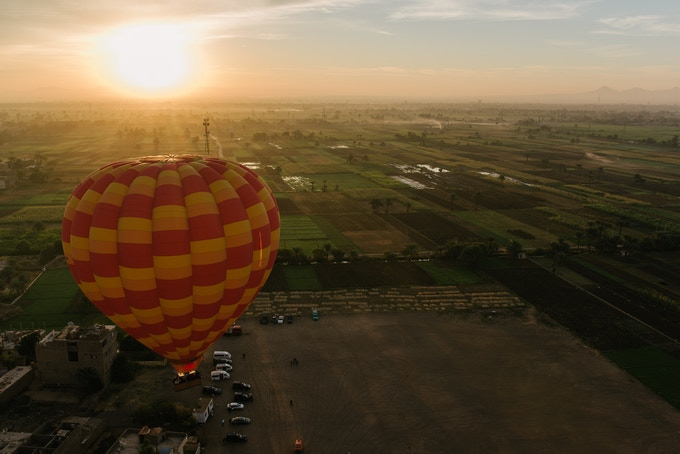 Hot Air Ballooning over the Nile at Luxor, Egypt