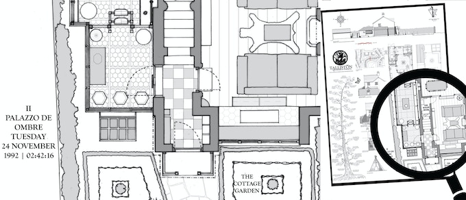 The A0 architectural plans map of the house & gardens.