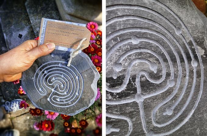 Hand carved slate labyrinth by Hatch Burn Carve.