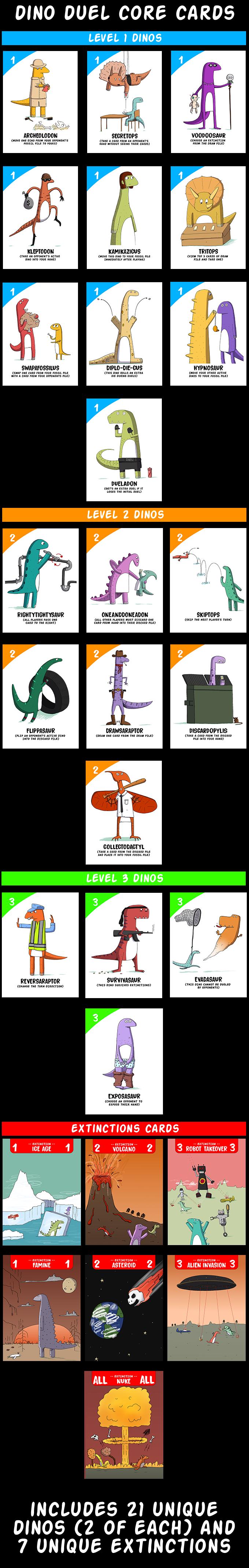 Core cards include 21 unique dinos and 7 unique extinctions.