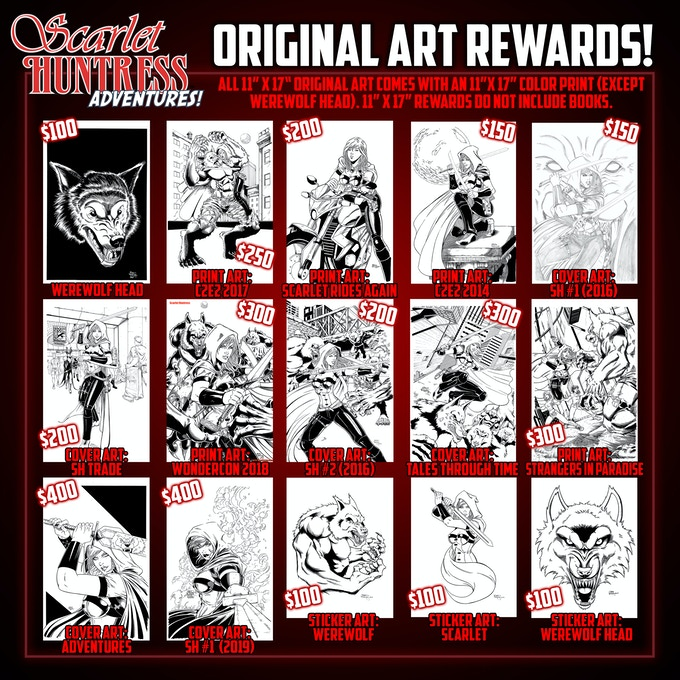 Original Art Rewards! These packages do not include books due to how the 11x17 art is shipped.
