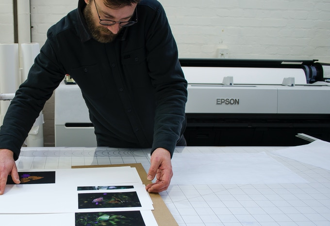 Rupert prints with a SC 20000 Epson printer with its 'Enhanced Variable Droplet Technology' delivering drops as small as 3.5 picoliters. Definition: A picoliter is a trillionth (one millionth of a millionth, or 10 to the -12th power) of a liter, which can be represented numerically as 0.000000000001/liter. Most importantly, it creates unbelievably rich, sharply focused, beds of pigment inks that can last for centuries.