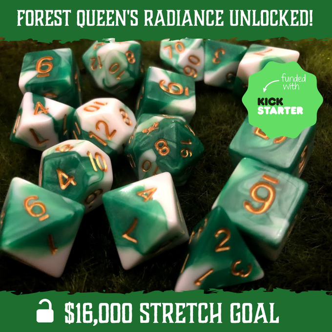Forest Queen's Radiance - Dark Green and White with Gold Numbering