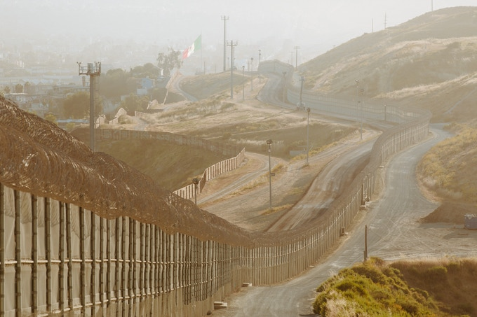 heavy multi-layer fencing east of San Ysidro, California opposite of Tijuana, Baja California.
