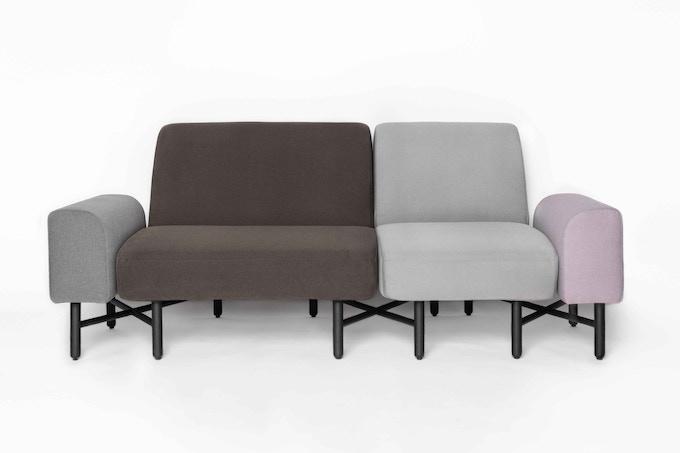Armrest in Grey + 1.5-seater in Mocha + 1-seater in Light Grey + armrest in Lavender
