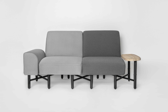 1-seater and armrest in Light Grey + 1-seater in Grey + side table
