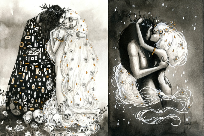 "On the left, tribute to ""The Kiss"" by Klimt. / Sur la gauche, hommage au baiser de Klimt"
